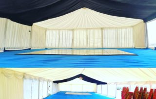 lined marquee with starlight bays carpet and dance floor