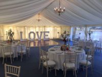 lined framed marquee wedding chandelier