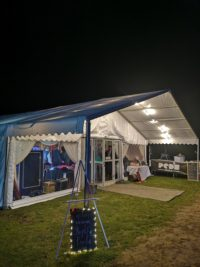 9m Marquee with canopy and french doors